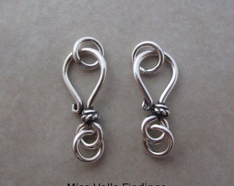 2 sterling silver Bali hook eye clasps with rope accent