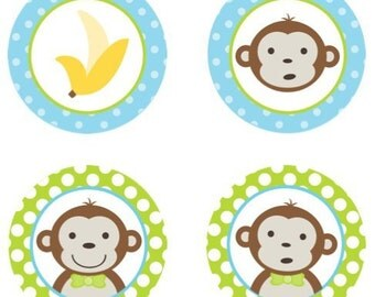 Mod Monkey (Blue & Lime Green) Edible Cupcake Topper Decorations - Set of 12 Toppers