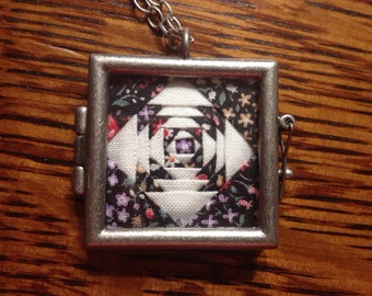 Midnight Garden Quilt Necklace