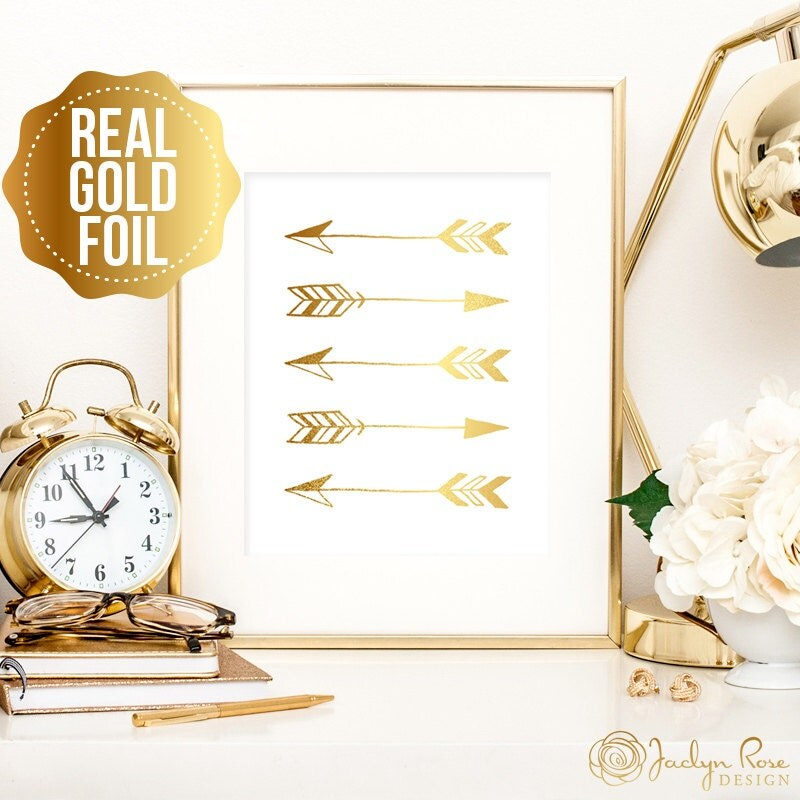 gold arrow print tribal print with real gold foil art great. Black Bedroom Furniture Sets. Home Design Ideas