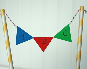 Library Party, Alphabet Party, ABC Pennant Cake Topper, Alphabet Cake Topper