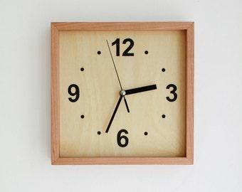 Cherry wood Square Wall Clock Silent No Ticking Handmade