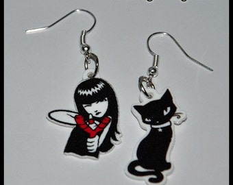 Earrings Emily the Strange Black Cat 2 models