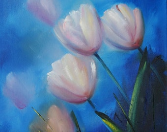 Tulips oil painting ORIGINAL small flower painting, oil on canvas, 11*14 inches, small flower painting, Fine Art gallery quality