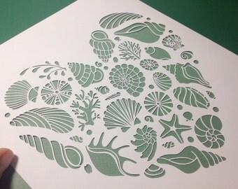 Heart of the Sea digital papercut template