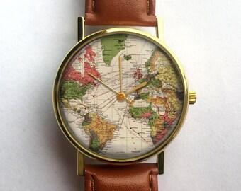 World Map Watch, Vintage Map, Antique Map, Wanderlust, Ladies Watch, Men's Watch, Unisex Watch, Traveler Gift, Vintage Watch, Custom Watch