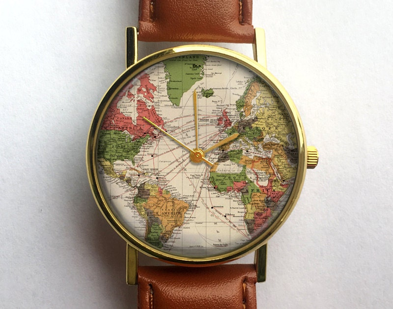 World Map Watch Vintage Map Antique Map Wanderlust Ladies