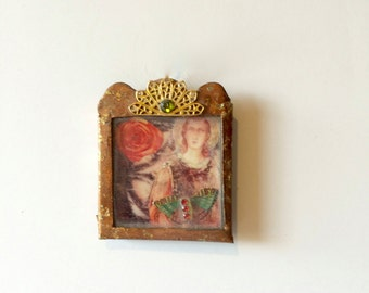 nicho frame-collage- virgin mary collage- religious icon-religious art- metal frame- icon - virgin mary art- nicho - collaged art - mixed