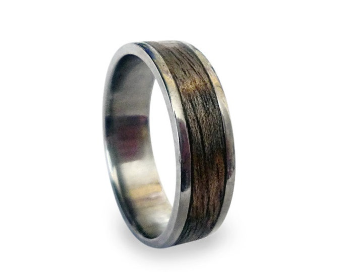 Titanium Ring, Mens Titanium Wedding Band, Wooden, Wood Ring, Wrapped Wood Inlay
