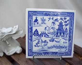 Asian Temple Kitchen Trivet Ceramic Square Tile