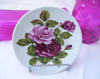 Burgundy and Pink Rose Plate