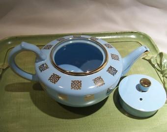 Blue and Gold Teapot by Sudlow's Burslem