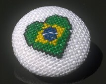 Brazil flag embroidered button 23mm