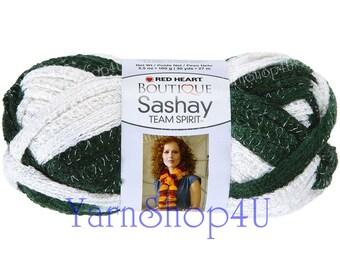 Team Spirit GREEN/WHITE Red Heart yarn Sashay colors Ruffle yarn ribbon yarn green and white Yarn fluffy scarf Michigan State scarf yarn