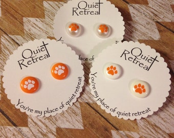 Clemson Earrings - Clemson Tigers - Clemson University - Stud Earrings - Nickel Free