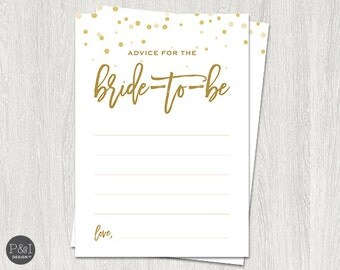Advice for the Bride | Gold Bridal Shower Downloads and Games | Instant Download (5x7)