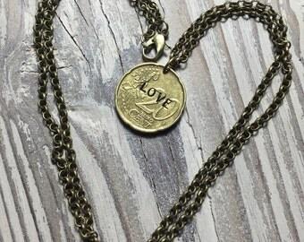 Euro Coin Necklace Love