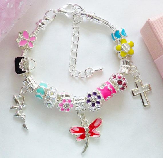Tinkerbell Charm Bracelet: Crusifix Cross Charm Bracelet With Tinkerbell & Dragonfly All