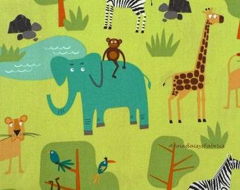 Jungle Animal Fabric, Jungle Party 15057 Robert Kaufman, Edward Miller, Wild Animal Baby Quilt Fabric, Zoo Animal Fabric,  Cotton Fabric