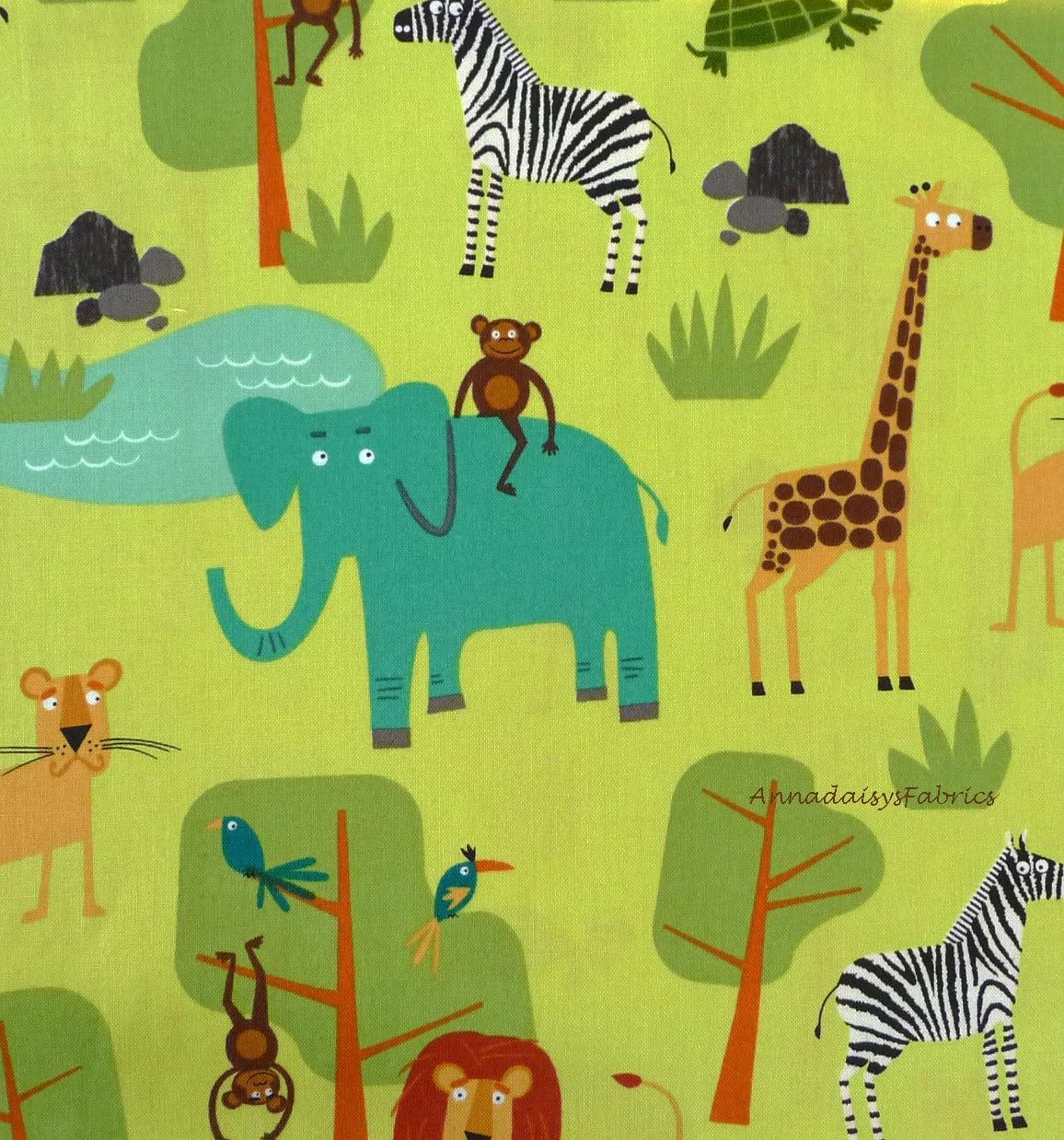 Jungle animal fabric jungle party 15057 robert kaufman for Kids jungle fabric