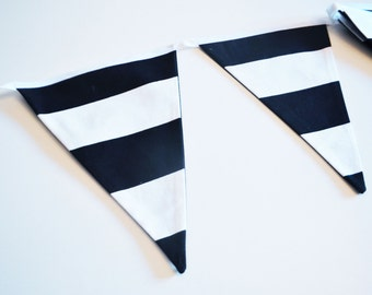 Bunting Flags, nursery or play room decor, black and white stripes, matching teepee in our shop!
