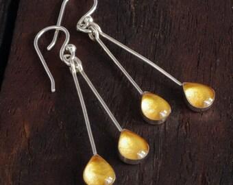 Silver Drop Earrings - Sunshine Yellow