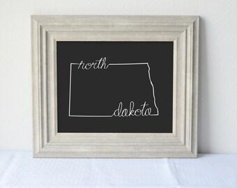 Printable North Dakota State Art Print 8x10 Digital Wall Art Gift