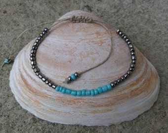 Turquoise Metallic Hemp Bracelet Handmade, Hemp Anklet, Hemp Jewelry, Beaded Hemp Bracelet, Hemp, Jewelry.