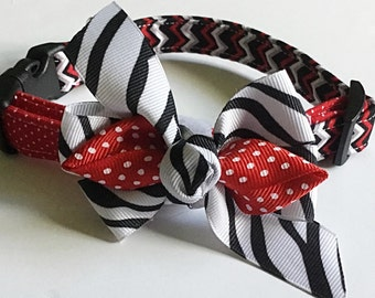 Red & Black Girl Dog and Cat Collar with Bow