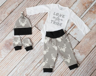 Baby Deer Antlers/Horns Tribal Bodysuit, Hat, Scratch Mittens Set with Grey and Black+ Love My Tribe Bodysuit Newborn Coming Home