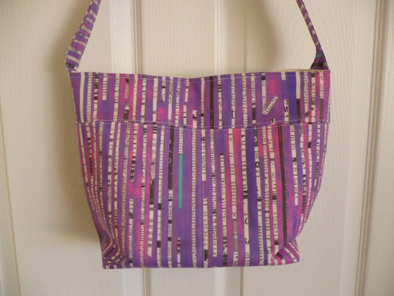 Pink & Newspaper Bucket-Style Purse Diaper Bag
