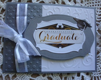 Graduation Card, from high school, grammer school, college, embossed, for him, for her, Congratulations, Greeting card, Handmade, 3D Effect