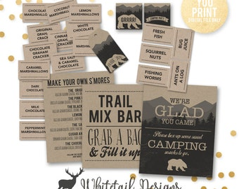 Camping Birthday Printables, Camp Party Decor, S'mores Bar Sign, Trail Mix Bar, camping Party decor, Camping Birthday, DIGITAL YOU PRINT