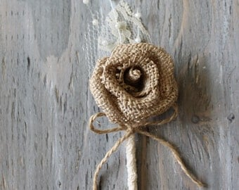 Rustic Boutonniere Groom Boutonniere Groomsman Boutonniere Dried Flowers Mens Wedding Burlap Boutonniere  Wedding  Boutonnieres