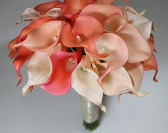 Coral Wedding Bouquet Coral Calla Lilly Bouquet Bridal Bouquet Coral Bouquets Wedding Bouquets Bouquets  Calla Lily Wedding Bouquet