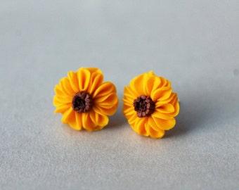 Sunflower Earrings - Handmade Sunflower Earrings - Flower Earrings - Gift for Her - Sunflower Studs - Polymer Clay Jewelry - Spring Earrings