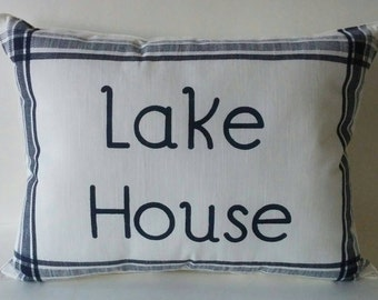 Lake House Pillow, Beach Pillow, Lake Decor, Decorative Pillow, Throw Pillow, Personalize Pillow, Nautical Pillow