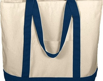 Navy and Natural Boater Tote with FREE MONOGRAM