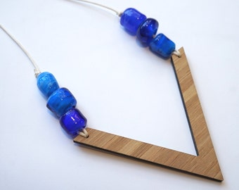 Transparent Blue Lampwork Glass Beads with Wooden V necklace