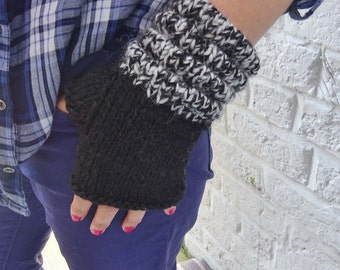 Thick Alpaca/Wool Fingerless Gloves Mittens – Black -  READY TO SHIP