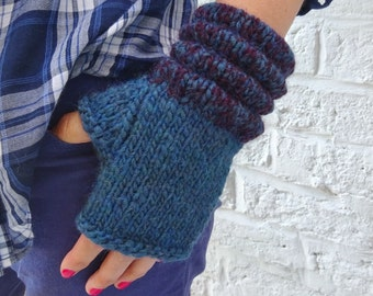 Petrol Blue Chunky Alpaca and Wool Fingerless Gloves Mittens – ready to ship - FREE DELIVERY