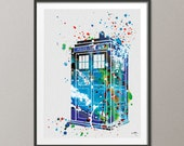 Tardis from Dr Who inspired Watercolor Painting Print Archival Fine Art Print Wall Art Wall Decor Art Home Decor Wall Hanging [NO 8]