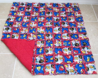 Angry Birds Rag Quilt  - toddler blanket, boy rag quilt, red blue white