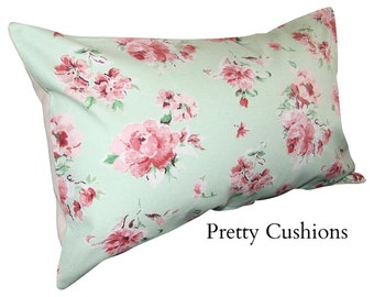 Pretty Vintage Rose Mint Green & Pink Bolster Cushion Cover