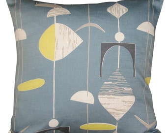 Sanderson Mobiles Slate Blue & Lime Abstract Cushion Cover