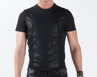 AUTOMATON TEE - Men's Muscle Shirt Black T-Shirt Leather Industrial Goth Armor Menswear Cruelty Free Ninja Gothic Cyber Futuristic Festival