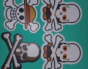 Skull and cross bones stickers set of 6