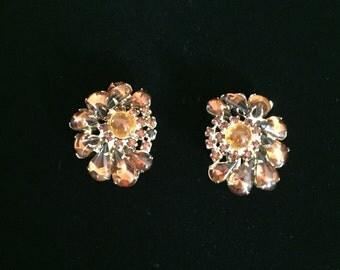 Vintage Amber Color Clip Rhinestone Earrings