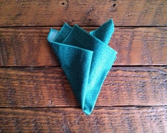 Pocket Square Handkerchief - Teal floral
