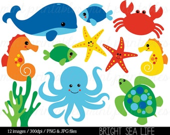 Sea Animal Clipart, Under the Sea, Baby Sea Creatures Clip Art, Animal Clipart Whale Ocean Crab - Commercial & Personal - BUY 2 GET 1 FREE!